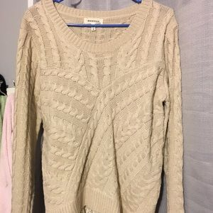 Cream sweater with lace
